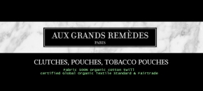 Aux Grands Remèdes – Clutch, pouch and tobacco pouch