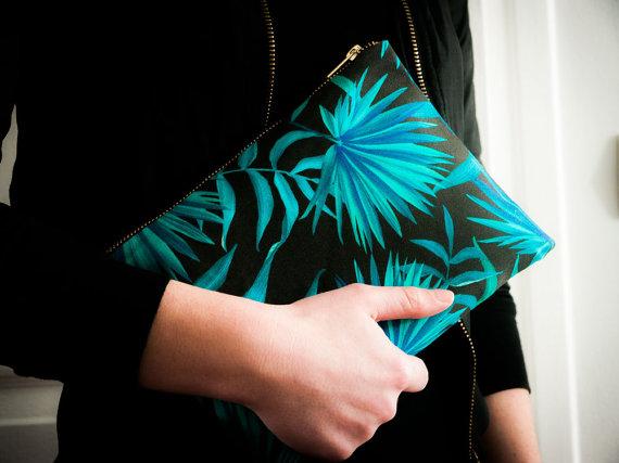 Aux Grands Remèdes - Pochette - Clutch - Blue Palm